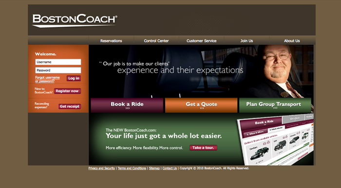 Boston Coach homepage