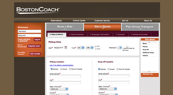 Boston Coach interior page